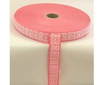 RIBBON 20 MM 2 HEARTS WHITEPINK 25m/roll