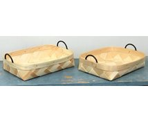 SET BASKETS VEENER LEATHERH. 26X22X6CM