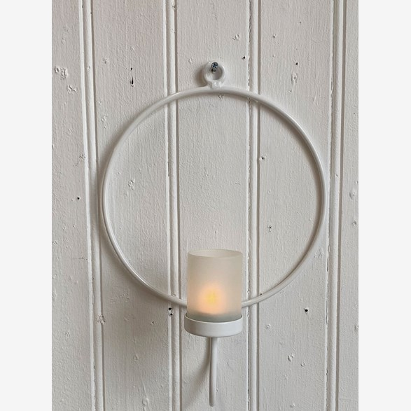 WALLCANDLEHOLDER RING 23CM W.GLASS WHITE