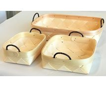 SET 3 BASKETS LEATHERRIBBON 31X20X6CM