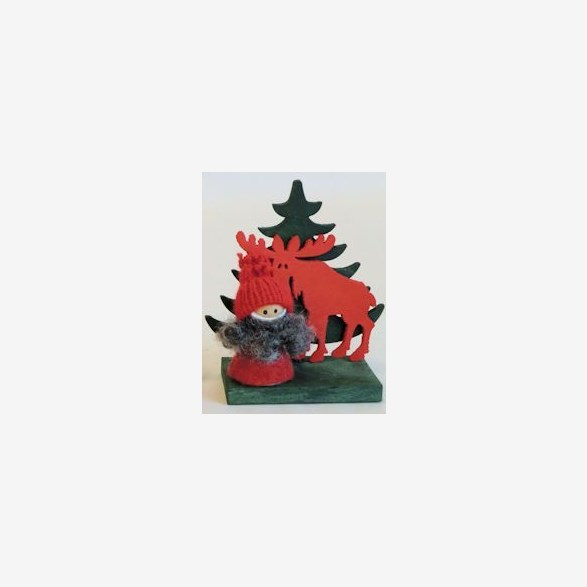SANTA RED W.MOOSE/TREE 10CM