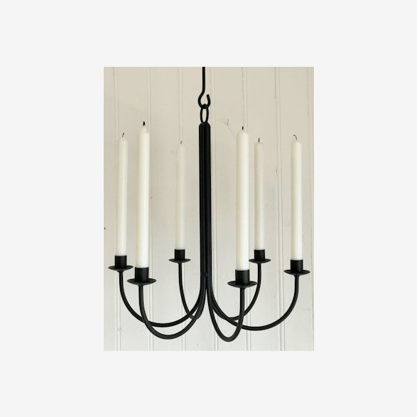 CHANDELIER 6 CANDLES D.40CM BLACK 3 HOOKS