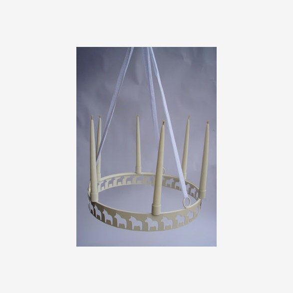 CANDLERING HANG FOR 6 CANDELS HORSES 40CM WHITE