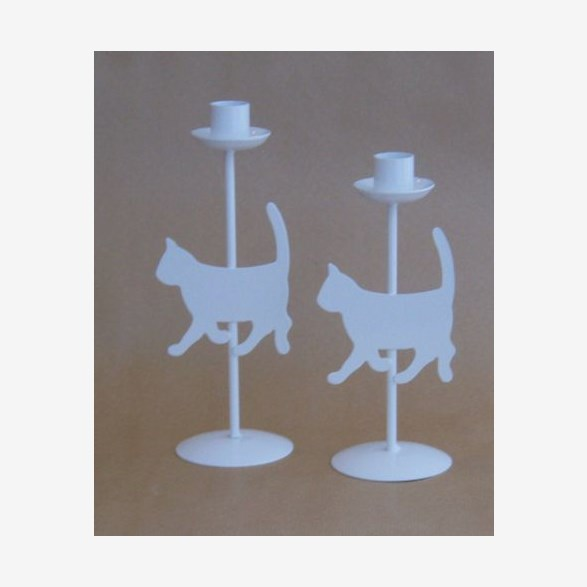 CANDLEHOLDER CAT WHITE