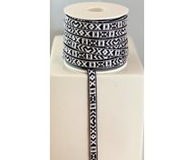 RIBBON 10MM WHITEBLACK