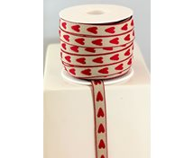 RIBBON 12MM NAT/RED HEART