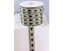 RIBBON 12MM HEARTS GREEN/NAT
