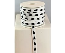 RIBBON 12MM WHITE/BLACK HEART