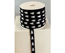 RIBBON 12MM BLACK/WHITE HEART