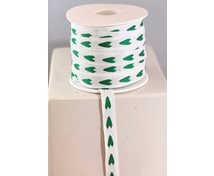 RIBBON 12MM L.GREEN HEART/WHITE