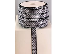 RIBBON 12MM BLACK/WHITE GOOSEYE