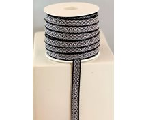 RIBBON 7MM BLACK/WHITE