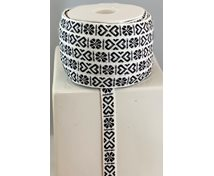 RIBBON 11MM HEART BLACK/WHITE