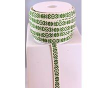 RIBBON 11MM HEART GREEN/WHITE
