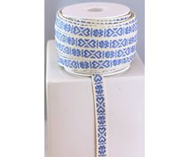 RIBBON 11MM HEART LIGHTBLUEWHITE