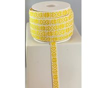 RIBBON 11MM HEART YELLOWWHITE