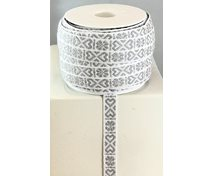 RIBBON 11MM HEART GREYWHITE 25m/roll