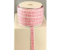 RIBBON 11MM HEART PINKWHITE 25m/roll