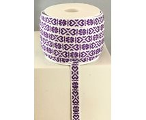 RIBBON 11MM HEART PURPLEWHITE 25m/ROLL