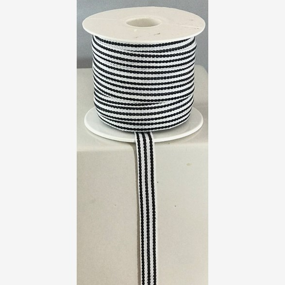 RIBBON 10MM LONGSTRIPE BLACKWHITE