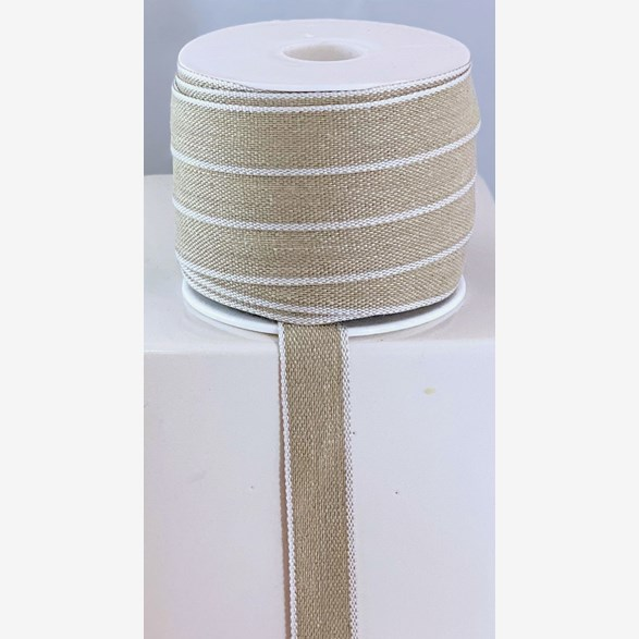 RIBBON LINNEN 15 MM NAT/WHITE