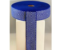 LINNEN/COT.RIBBON 40MM  BLUEWHITE GOOSEEYE
