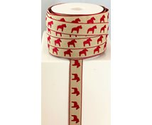 RIBBON 14MM RED HORSE/BEIGE