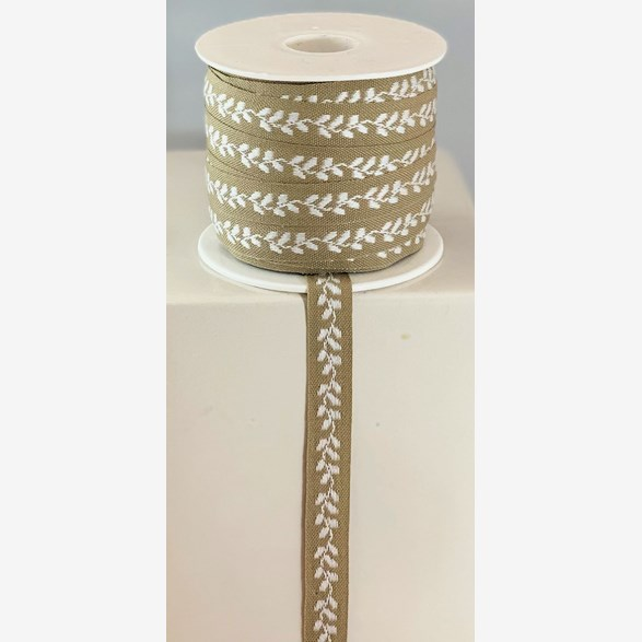 RIBBON 13MM WHITE LEAF/BEIGE 25m/roll