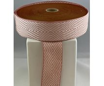LINNEN/COT.RIBBON 40MM POWDERPINKWHITE GOOSEEYE 25m/roll